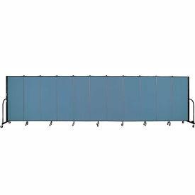 "Screenflex 11 Panel Portable Room Divider, 5'H x 20'5""L, Fabric Color: Blue"