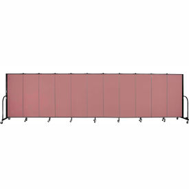 """Screenflex 11 Panel Portable Room Divider, 5'H x 20'5""""L, Fabric Color: Mauve"""