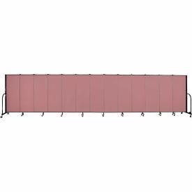 "Screenflex 13 Panel Portable Room Divider, 5'H x 24'1""L, Fabric Color: Rose"