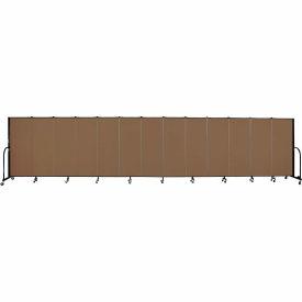 "Screenflex 13 Panel Portable Room Divider, 5'H x 24'1""L, Fabric Color: Walnut"