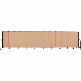 "Screenflex 13 Panel Portable Room Divider, 5'H x 24'1""L, Fabric Color: Desert"