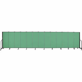 "Screenflex 13 Panel Portable Room Divider, 5'H x 24'1""L, Fabric Color: Sea Green"