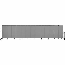 "Screenflex 13 Panel Portable Room Divider, 5'H x 24'1""L, Fabric Color: Grey"