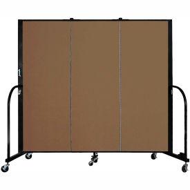 "Screenflex 3 Panel Portable Room Divider, 5'H x 5'9""L, Fabric Color: Walnut"