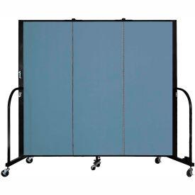 "Screenflex 3 Panel Portable Room Divider, 5'H x 5'9""L, Fabric Color: Summer Blue"