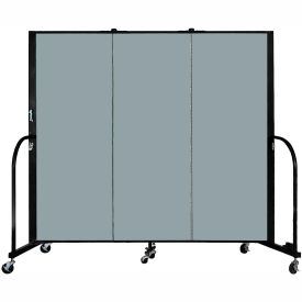 "Screenflex 3 Panel Portable Room Divider, 5'H x 5'9""L, Fabric Color: Grey Stone"