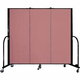 """Screenflex 3 Panel Portable Room Divider, 5'H x 5'9""""L, Fabric Color: Mauve"""