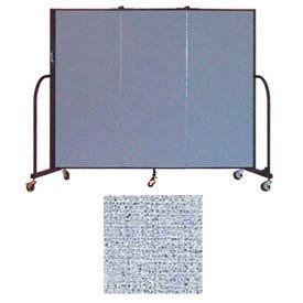 "Screenflex 3 Panel Portable Room Divider, 5'H x 5'9""L, Vinyl Color: Blue Tide"