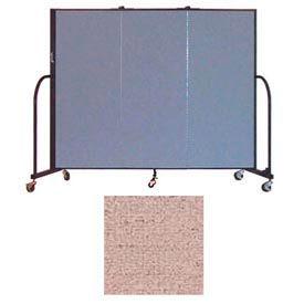 "Screenflex 3 Panel Portable Room Divider, 5'H x 5'9""L, Vinyl Color: Raspberry Mist"