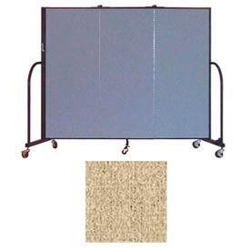 """Screenflex 3 Panel Portable Room Divider, 5'H x 5'9""""L, Vinyl Color: Sandalwood"""