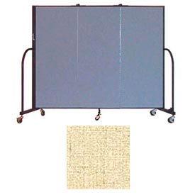 "Screenflex 3 Panel Portable Room Divider, 5'H x 5'9""L, Vinyl Color: Hazelnut"