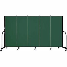 "Screenflex 5 Panel Portable Room Divider, 5'H x 9'5""L, Fabric Color: Mallard"
