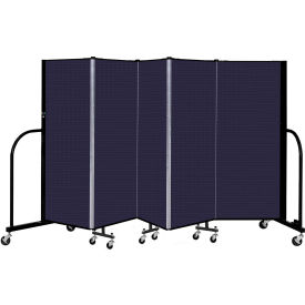 "Screenflex 5 Panel Portable Room Divider, 5' H x 9'5"" L, Fabric Color: Navy"