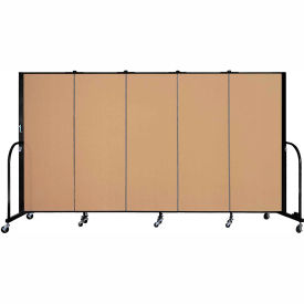 "Screenflex 5 Panel Portable Room Divider, 5'H x 9'5""L, Fabric Color: Sand"