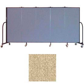 "Screenflex 5 Panel Portable Room Divider, 5'H x 9'5""L, Vinyl Color: Sandalwood"