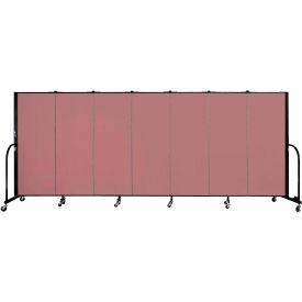 "Screenflex 7 Panel Portable Room Divider, 5'H x 13'1""L, Fabric Color: Rose"