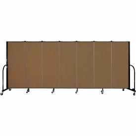 "Screenflex 7 Panel Portable Room Divider, 5'H x 13'1""L, Fabric Color: Walnut"