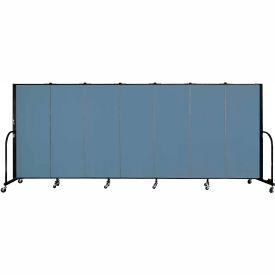 "Screenflex 7 Panel Portable Room Divider, 5'H x 13'1""L, Fabric Color: Blue"