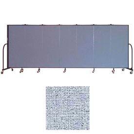 "Screenflex 7 Panel Portable Room Divider, 5'H x 13'1""L, Vinyl Color: Blue Tide"