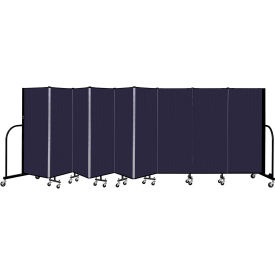 """Screenflex 9 Panel Portable Room Divider, 5' H x 16'9"""" L, Fabric Color: Navy"""