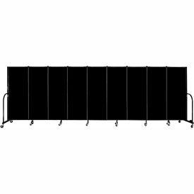 "Screenflex 9 Panel Portable Room Divider, 5'H x 16'9""L, Fabric Color: Charcoal Black"