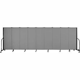 "Screenflex 9 Panel Portable Room Divider, 5'H x 16'9""L, Fabric Color: Grey"
