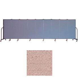 "Screenflex 9 Panel Portable Room Divider, 5'H x 16'9""L, Vinyl Color: Raspberry Mist"