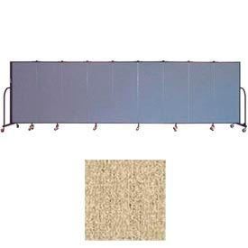 """Screenflex 9 Panel Portable Room Divider, 5'H x 16'9""""L, Vinyl Color: Sandalwood"""