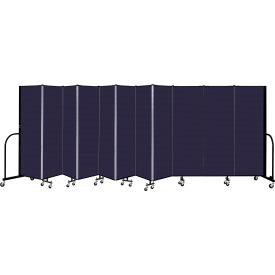"""Screenflex 11 Panel Portable Room Divider, 6' H x 20'5"""" L, Fabric Color: Navy"""