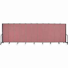 """Screenflex 11 Panel Portable Room Divider, 6'H x 20'5""""L, Fabric Color: Mauve"""