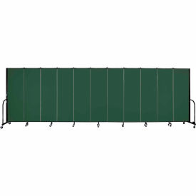 "Screenflex 11 Panel Portable Room Divider, 6'H x 20'5""L, Fabric Color: Green"