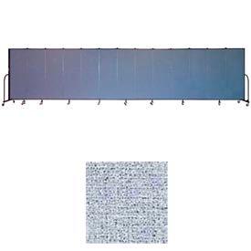"Screenflex 11 Panel Portable Room Divider, 6'H x 20'5""L, Vinyl Color: Blue Tide"