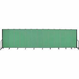 "Screenflex 13 Panel Portable Room Divider, 6'H x 24'1""L, Fabric Color: Sea Green"