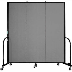 "Screenflex 3 Panel Portable Room Divider, 6'H x 5'9""L, Fabric Color: Stone"