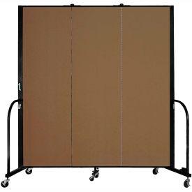 "Screenflex 3 Panel Portable Room Divider, 6'H x 5'9""L, Fabric Color: Walnut"