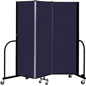 "Screenflex 3 Panel Portable Room Divider, 6' H x 5'9"" L, Fabric Color: Navy"