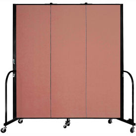 "Screenflex 3 Panel Portable Room Divider, 6'H x 5'9""L, Fabric Color: Cranberry"