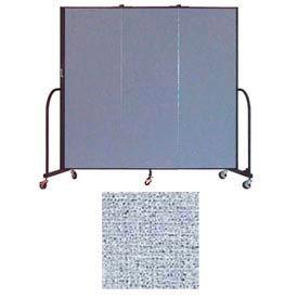 "Screenflex 3 Panel Portable Room Divider, 6'H x 5'9""L, Vinyl Color: Blue Tide"