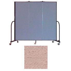 "Screenflex 3 Panel Portable Room Divider, 6'H x 5'9""L, Vinyl Color: Raspberry Mist"