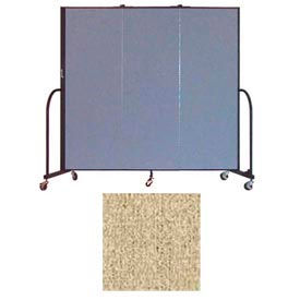 "Screenflex 3 Panel Portable Room Divider, 6'H x 5'9""L, Vinyl Color: Sandalwood"