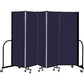 "Screenflex 5 Panel Portable Room Divider, 6' H x 9'5"" L, Fabric Color: Navy"
