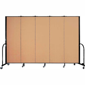 "Screenflex 5 Panel Portable Room Divider, 6'H x 9'5""L, Fabric Color: Desert"