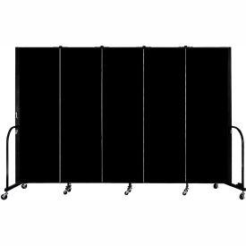"Screenflex 5 Panel Portable Room Divider, 6'H x 9'5""L, Fabric Color: Charcoal Black"