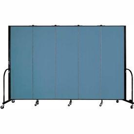 "Screenflex 5 Panel Portable Room Divider, 6'H x 9'5""L, Fabric Color: Summer Blue"