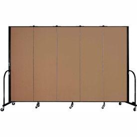 "Screenflex 5 Panel Portable Room Divider, 6'H x 9'5""L, Fabric Color: Beech"