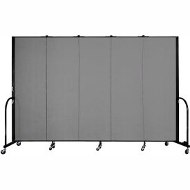 "Screenflex Portable Room Divider - 5 Panel - 6'H x 9'5""L -  Grey"