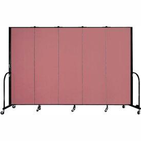 """Screenflex Portable Room Divider - 5 Panel - 6'H x 9'5""""L -  Mauve"""