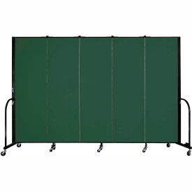 "Screenflex Portable Room Divider - 5 Panel - 6'H x 9'5""L -  Green"