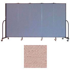"Screenflex 5 Panel Portable Room Divider, 6'H x 9'5""L, Vinyl Color: Raspberry Mist"