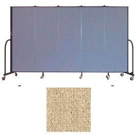 """Screenflex 5 Panel Portable Room Divider, 6'H x 9'5""""L, Vinyl Color: Sandalwood"""